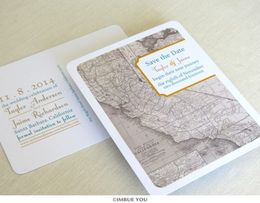california map save the date postcard by Imbue You