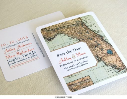 florida map save the date vintage postcard by Imbue You