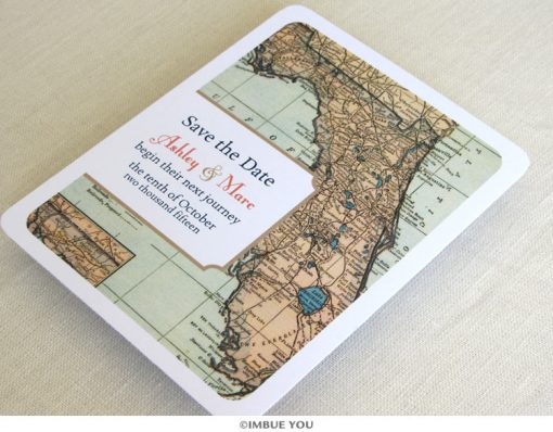 florida map save the date vintage postcard front by Imbue You