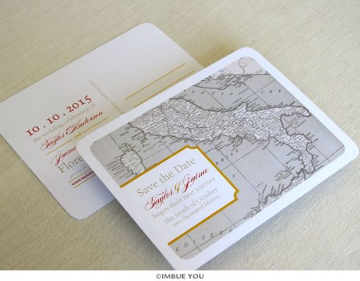 italy map save the date vintage postcard by Imbue You