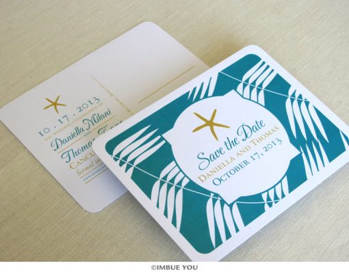 starfish beach save the date postcard by Imbue You