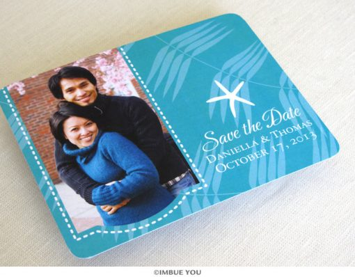 Starfish photo save the date front by Imbue You