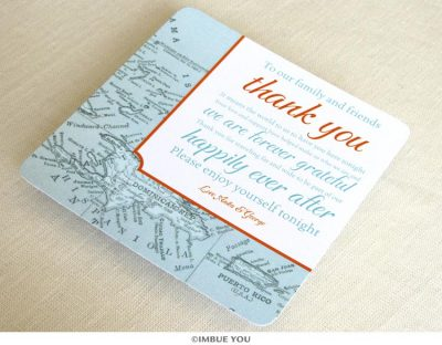 Caribbean Bahamas Jamaica reception thank you card by Imbue You
