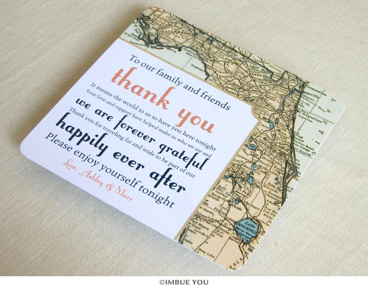 Florida vintage map reception thank you card by Imbue You
