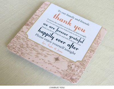 Vintage Map Dinner Plate Reception Thank You Card by Imbue You