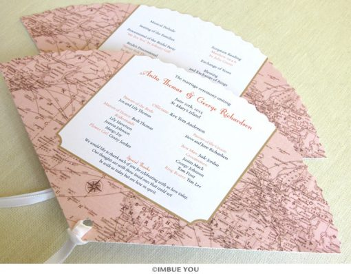 Vintage map fan program wedding by Imbue You