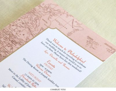 Vintage Map Itinerary Card close up by Imbue You
