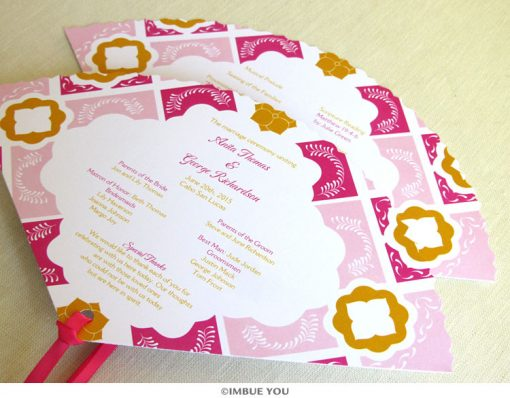 mexican tile fan wedding program talavera by Imbue You
