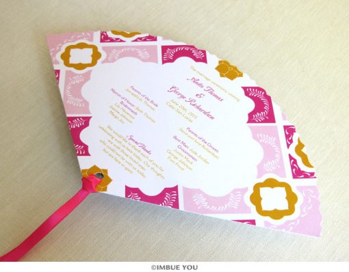 mexican tile talavera fan wedding program front by Imbue You