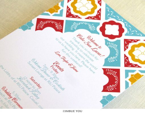 Mexican Tile Itinerary Card close up by Imbue You