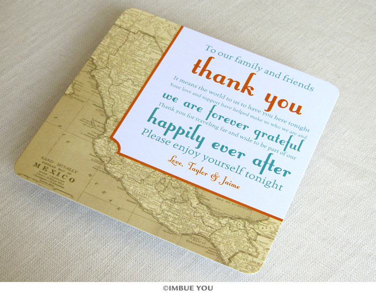 Mexican vintage map reception thank you card by Imbue You