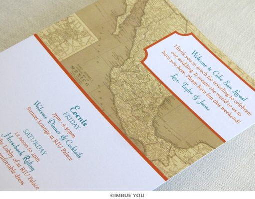 Mexican vintage map itinerary card by Imbue You