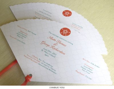 Sand dollar beach fan wedding program by Imbue You