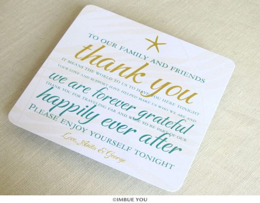 Starfish Beach Dinner Plate Reception Thank You Card by Imbue You