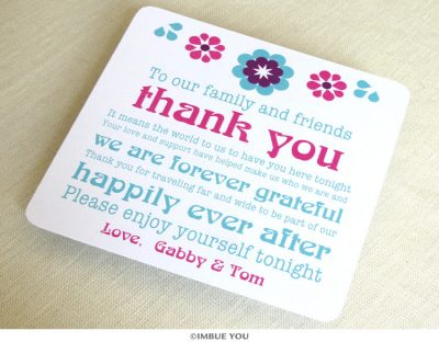 Mexican Tropical Floral Dinner Plate Reception Thank You Card by Imbue You