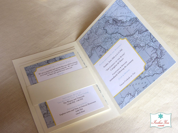 Italy wedding invitation blue yellow by Imbue You