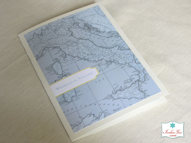 Italy map wedding invitation blue yellow booklet by Imbue You