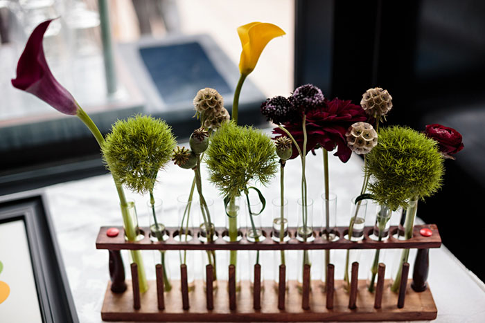 geek wedding test tube floral table decor
