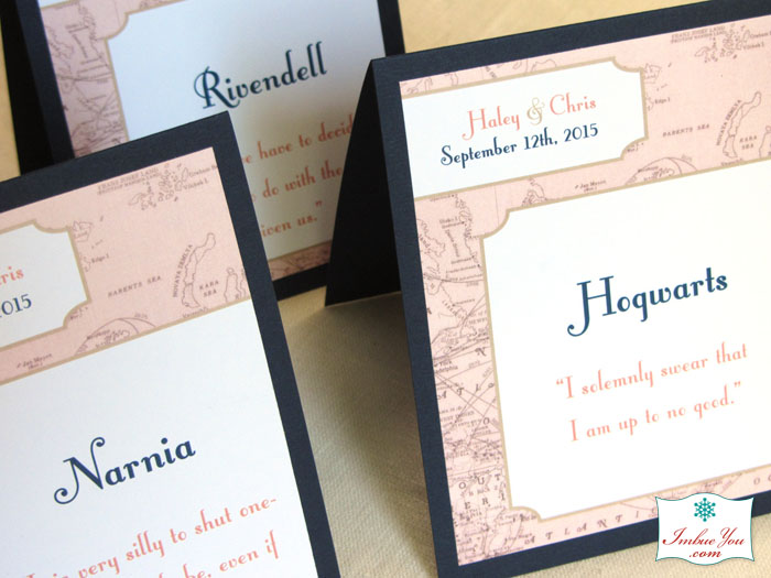 geek wedding hogwarts table names by Imbue You