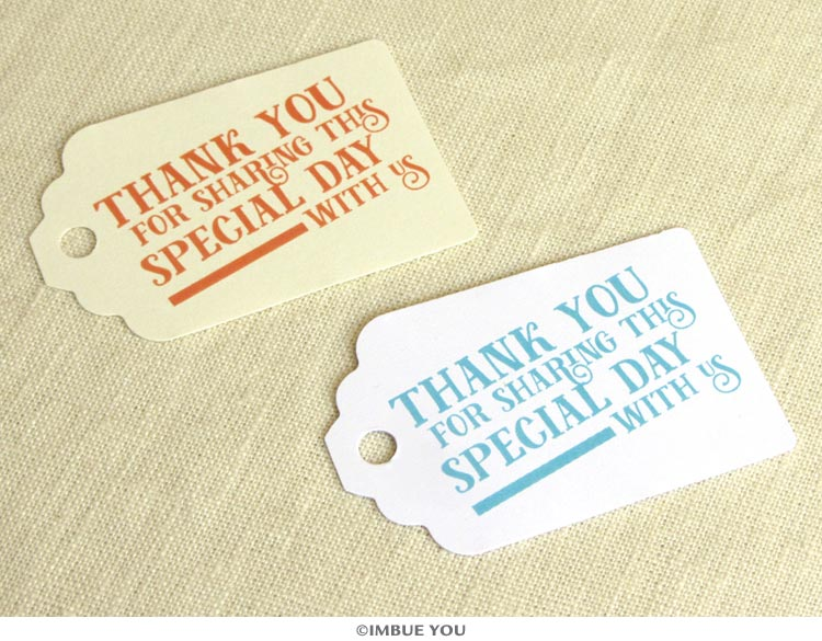 Typographic favor tag thank you for sharing our special day by Imbue You