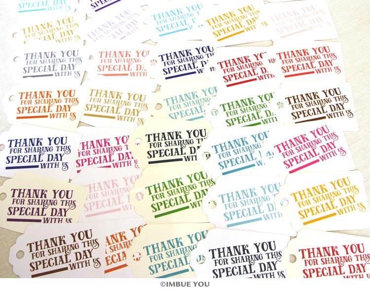 Modern typographic thank you favor tag colors by Imbue You