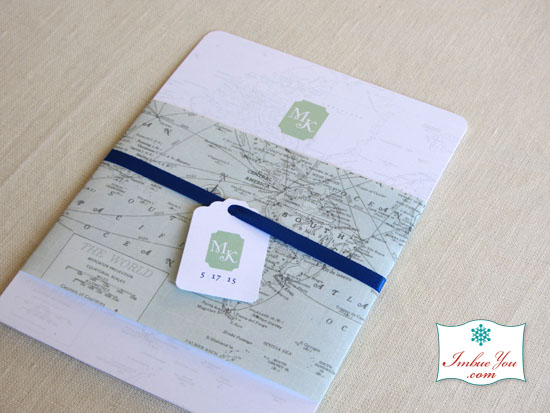 Soft Mint and Royal Blue Map Invitation
