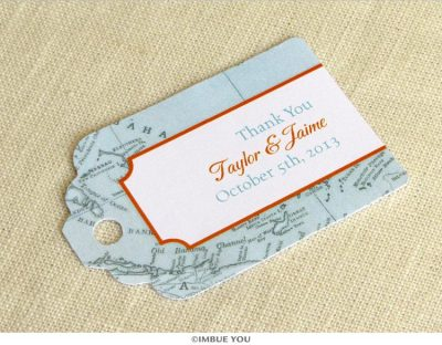 Caribbean map favor tag for Jamaica bahamas cruise wedding by Imbue You