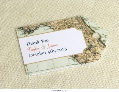 florida map favor tag for wedding reception by Imbue You