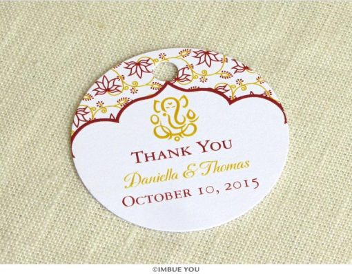 Ganesh Indian favor tag for Hindu wedding by Imbue You