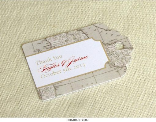 Italy map favor tag for tuscany florence rome wedding by Imbue You