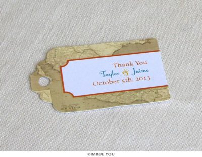 mexico map favor tag for mexican wedding by Imbue You