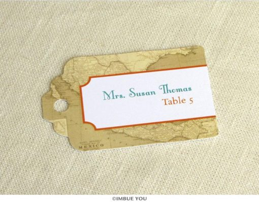 mexico map place card tag for mexican wedding by Imbue You