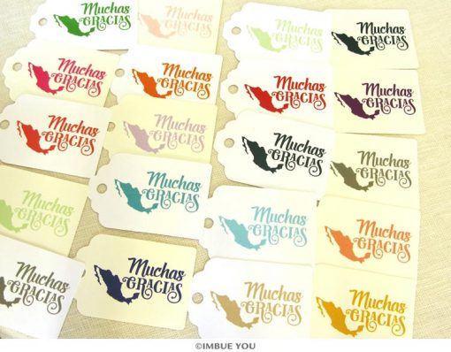 muchas gracias mexican wedding shower party gift tag by Imbue You