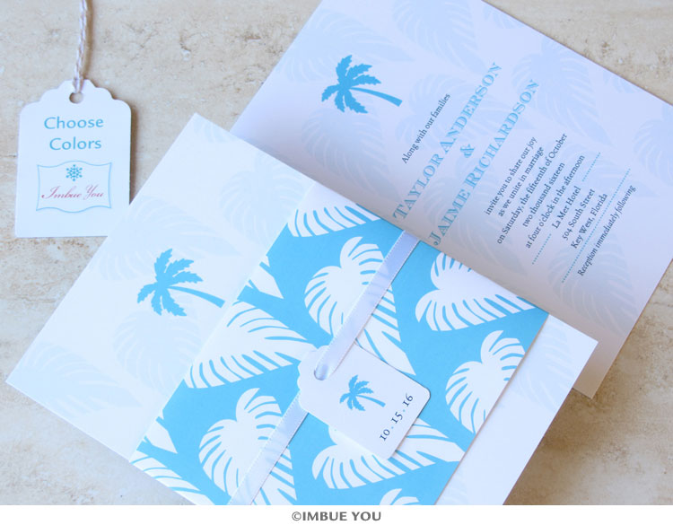Beach Wedding Elegance: Palm Tree Wedding Invitation