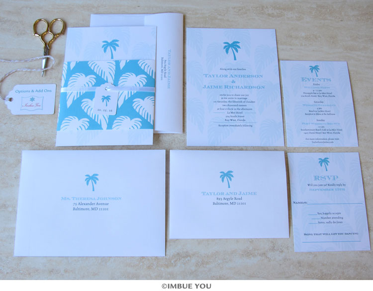 palm tree wedding invitation set belly band by Imbue You