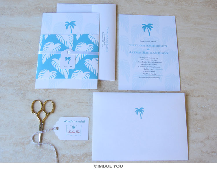 palm tree wedding invitation beach set by Imbue You