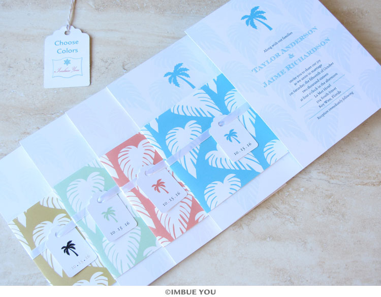 palm tree wedding invitation colors by Imbue You