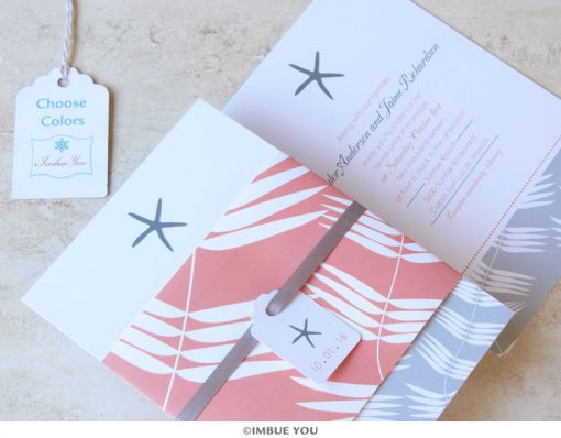 Starfish Beach Wedding Invitation by Imbue You