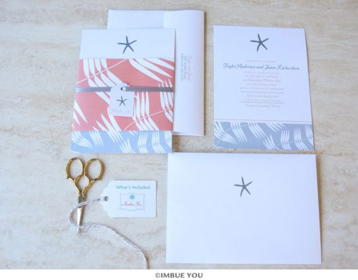 Starfish Wedding Invitation Beach Set by Imbue You