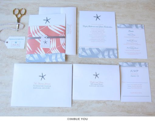 Starfish Beach Wedding Invitation Set by Imbue You