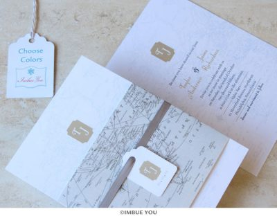 vintage map wedding invitation travel by Imbue You