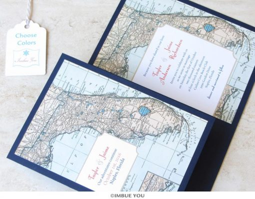 florida map wedding invitation booklet by Imbue You