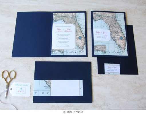 florida wedding invitation map booklet by Imbue You