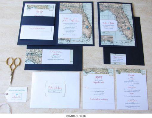 florida wedding invitation map booklet set by Imbue You