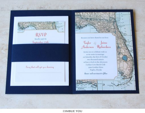 florida wedding invitation map booklet with RSVP by Imbue You