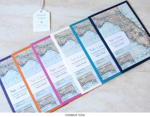 florida wedding invitation map booklet colors by Imbue You