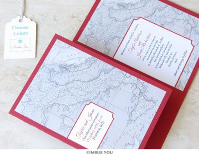 italy wedding invitation map booklet by Imbue You