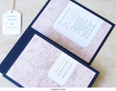 Travel theme wedding invitation by Imbue You