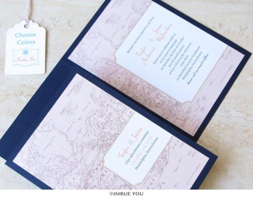 Travel theme wedding invitation by Imbue You