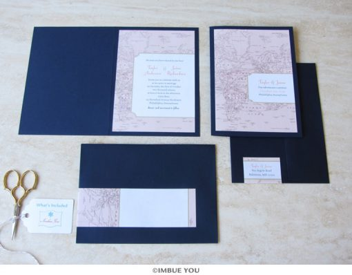 Travel theme wedding invitation booklet by Imbue You
